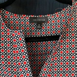 The Limited Tops - Navy and red patterned blouse